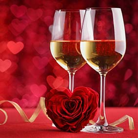 Heart Flower and Wine Glasses